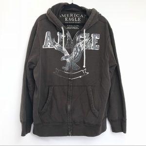 AEO Brown Heavy Zip Hooded Sweatshirt XXL